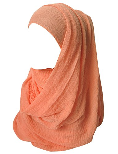 (Lina & Lily Solid Color Crepe Crinkled Scarf Hijab with Frayed Edges (Salmon))