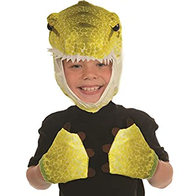 Underwraps Kid's Children's Animal Pack Dress Up Kit - T-Rex Green Childrens Costume, Green, One Size: Clothing