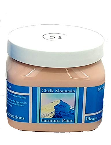 Chalk Mountain Quality Chalk Furniture Paint - 51 Beachy & Earthy Colors - Zero VOC & Low Odor (3 Sizes Available) (16oz, 51 Pastel Peach)