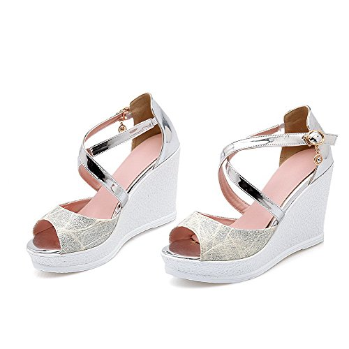Allhqfashion Women's Open Toe Buckle Blend Materials Assorted Color High Heels Sandals Silver BNtle
