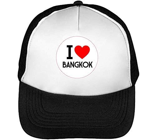 I Bangkok Gorras Hombre Snapback Beisbol Negro Blanco