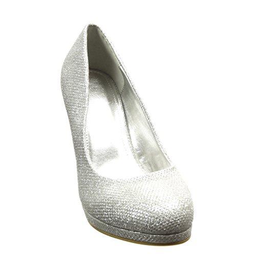 Angkorly - Chaussure Mode Escarpin stiletto sexy soirée femme pailettes Talon haut aiguille 9.5 CM - Argent