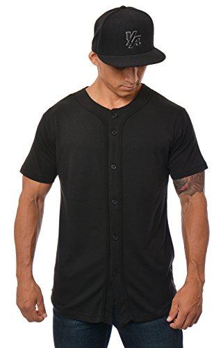 All Sports Jerseys - YoungLA Baseball Jersey Plain Shirts for Men Button Down Sports Tee Made w/Soft Cotton All Black - Medium