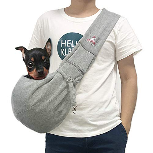 MRELEC Small Dog Cat Sling Carrier Bag with Soft Shoulder Strap Comfortable Pouch Outdoor Travel Hands Free Tote Purse Adjustable Net to Prevent Accidental Falling (Gray)