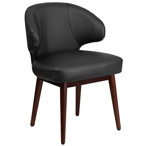 Flash Furniture Comfort Back Series Black Leather Side Reception Chair with Walnut Legs