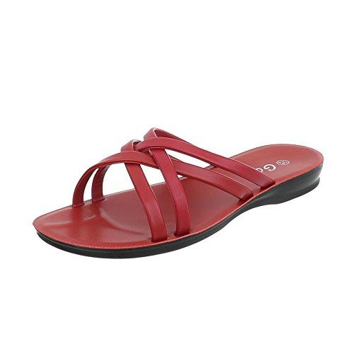 Ital-Design Pantoletten Damenschuhe Pantoletten Pantoletten Sandalen & Sandaletten Rot