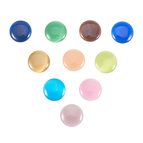 Stone Flat Round Beads (NBEADS 50 Pcs Multi-color 25mm Natural Gemstone Round Cab Cabochon for Jewelry Making Beads Cabs Findings, Random Color)