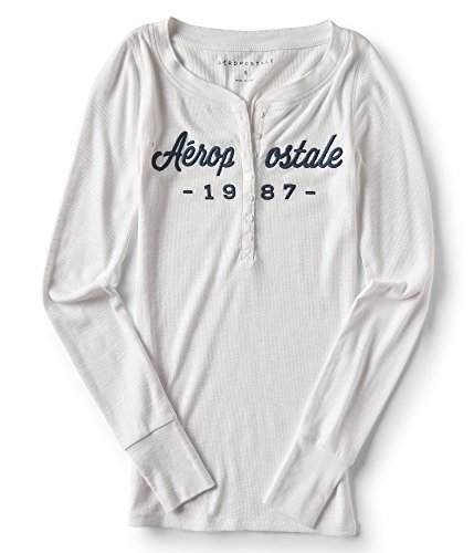Aeropostale Long Sleeve 1987 Logo Henley Top Xxlarge Bleach (Clothing Aeropostale)