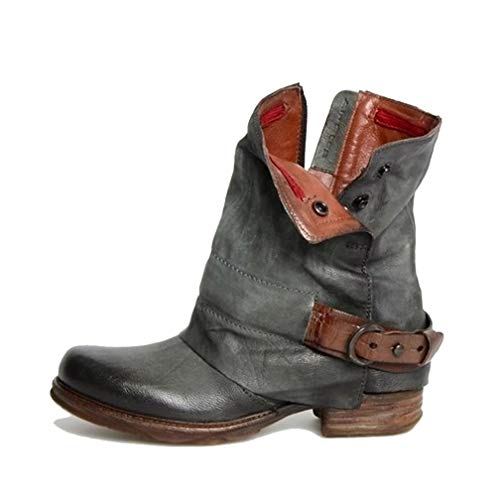 Women's Vintage Low Heel Ankle Booties Platform Buckle Strap Round Toe Zipper Retro Short Boots Grey