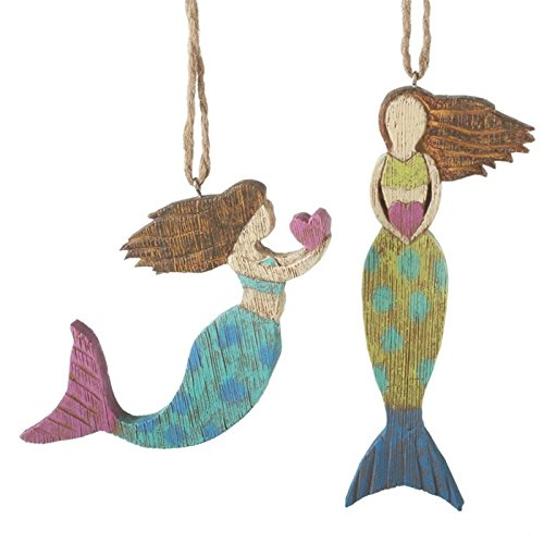 2 Assorted Folk Art Style Resin Mermaid Ornaments – Gift Boxed For Sale