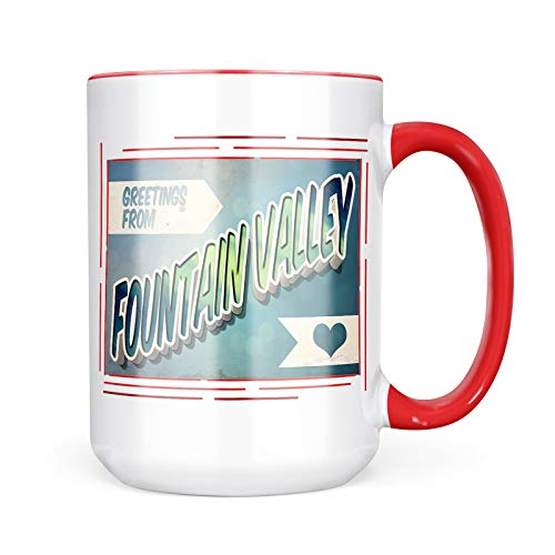 (Neonblond Custom Coffee Mug Greetings from Fountain Valley, Vintage Postcard 15oz Personalized Name)