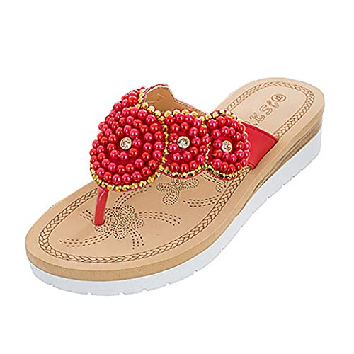 New in Respctful✿Women's Bohemian Summer Platform Wedge Beach Flip Flop Toe High Heel Thong Sandals Red