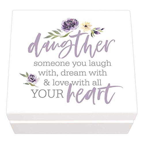 P. Graham Dunn Daughter Laugh Dream Love Heart Floral Purple 6 x 6 Pine Wood Jewelry ()