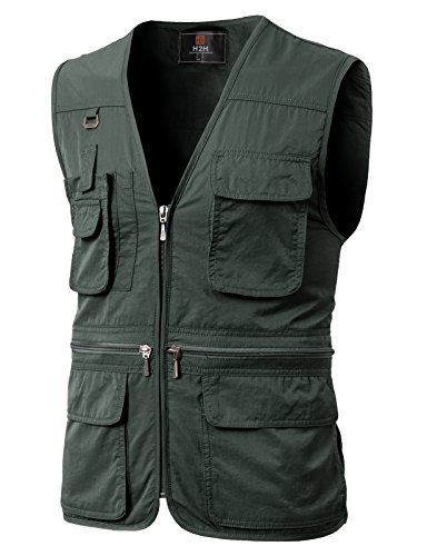 H2H Men's Cargo Vest Multi Pockets Mesh Casual Outwear CHARCOAL US M/Asia L (KMOV0113)