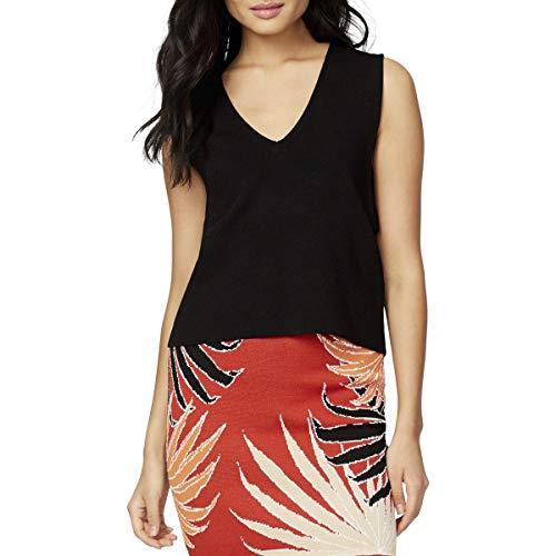 RACHEL Rachel Roy Womens Sleeveless Textured V-Neck Sweater Black S