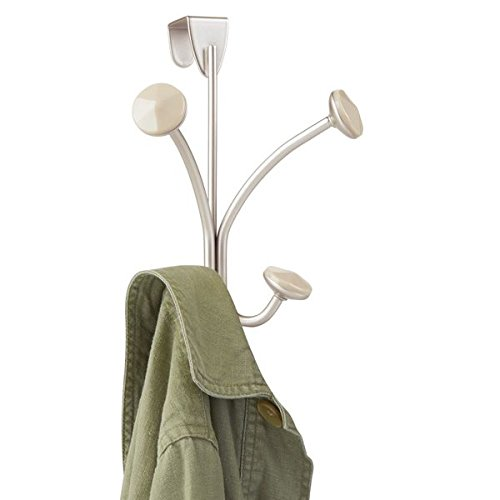 mDesign Decorative Over Door 4 Hanging Hooks, 2-Tier Steel Storage Organizer Rack for Coats, Hoodies, Hats, Scarves, Purses, Leashes, Bath Towels & Robes, for Mens and Womens Clothing - Satin