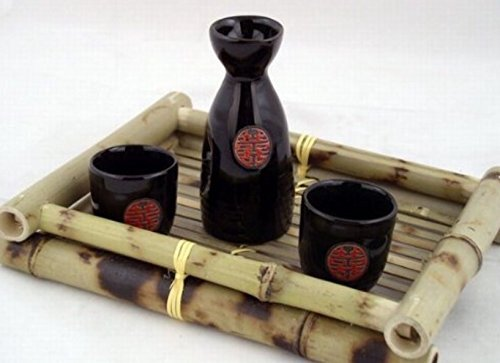 Glazed Ceramic 3 Pcs Japanese Sake Set In Gift Box by Asian Home