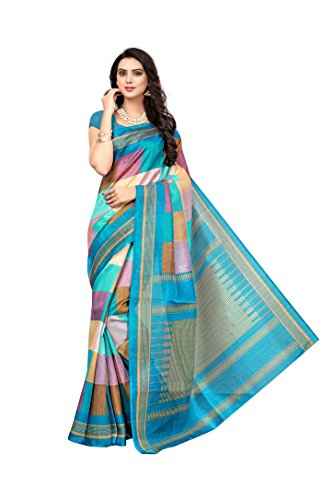 Jaanvi fashion Women's Bhagalpuri Silk Checks Printed Saree (Sweet-Look-Blue) ()
