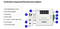 CHINLY WS2811/WS2812B/WS2813 LED digital music controller with RF touch remote;DC5-24V input;can control max 600pixels