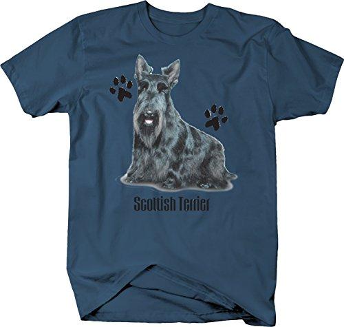 CuteBlack Scottish Terrier Dog Sitting Down Paw Prints Custom Tshirt - XLarge
