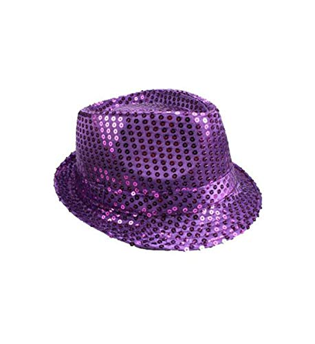 (Mozzly Unisex Costume Accessories Sequin Fedora Hat, Glamorous Flashing Disco Retro, Funky, Sparkly, Luxurious, Fancy Novelty Party Costume Accessory for Dress-up, Theater Play for Men & Women, Purple)