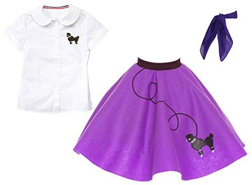 Hip Hop 50s shop 3 Piece Child Poodle Skirt Outfit, Size 8 Purple