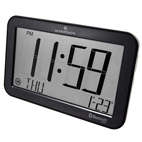 Marathon CL800001WD Atomic Bluetooth Clock System - Wood Gra