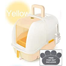 CATIDEA CL1 Yellow Luxury Sifting Hooded Cat Litter Box