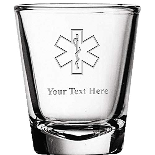 Custom Shot Glasses, Personalized EMS Star of Life Shot Glass Gift Engraved ()