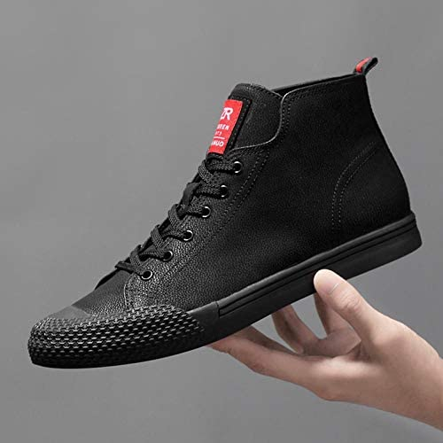WFQGZ Men's Shoes Leather Casual Breathable Unit Soft Light Shoes Men's Driving Shoes Comfortable-Black Fur_9.5
