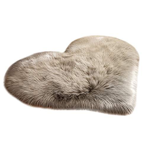 nOnioX Wool Imitation Sheepskin Area Rugs Non Slip Bedroom Carpet Long Plush Mat Heart Shape Ultra Soft Fluffy