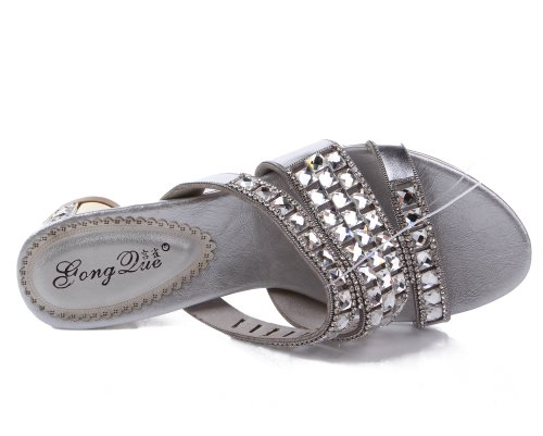 Abby Elegant Bride Sexy Slippers Leather Surprising Comfort Fashion Womens Silvery Low Exquisite Heel Weddy MNS T015 Snug qrwBqH