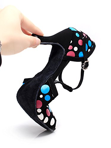 Abby Mujeres Practice Beginner Latin Tango Ballroom Party Bloque De Boda Heel Round-toe Pu Dance-Zapatos Black-e