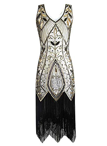 Women Flapper Dresses Plus Size Vintage 1920s Gatsby Inspired Dress Fringed for Prom Party Beige Gold ()