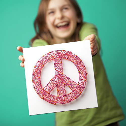 41g 8rGU3CL - Craft-tastic – Peace Sign String Art Kit – Craft Kit– Arts and Crafts for Tweens and Teens l Makes 3 Large String Art Canvases – Easy to Use – Ages 10+
