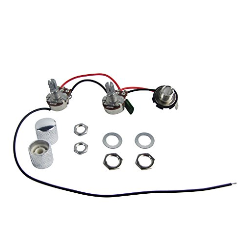 FLEOR Prewired Wiring Harness 1 Volume 1 Tone 1 Jack w/ Knurled Knobs Chrome for PB Bass Style Replacement