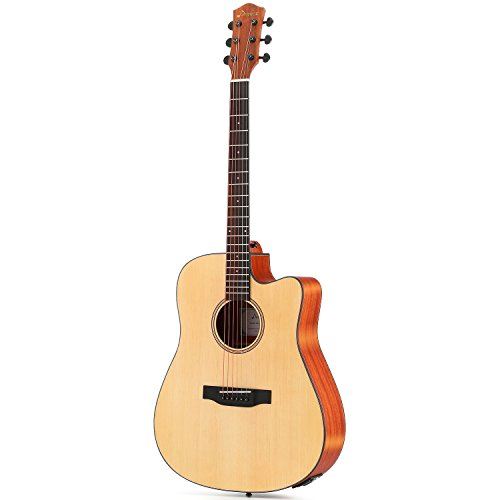 Donner DAG-1CE Electric Acoustic Guitar Cutaway 41'' Full-size Guitar Bundle Built-in Preamp with Bag Strap Tuner String - Image 2