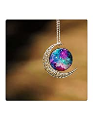 Crescent Moon Necklace Celestial Cosmos Made of Star Stuff Nebula Galaxy Planet