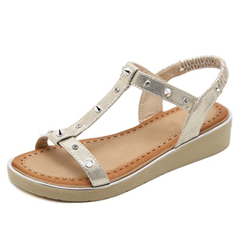 Schuhe Strand Sandalen Rivet Casual Strass Sommer Keil Gold Frauen Ruiren Damen für qOA8HwwB