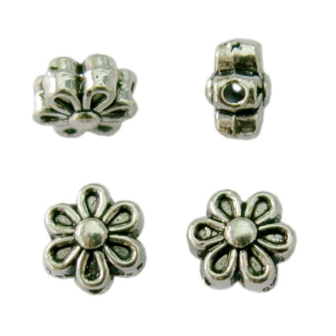 BSI- 50 Pcs Tibetan Silver Chrysanthemum Flower Spacer Charm Beads 6mm for Jewelry Making Findings