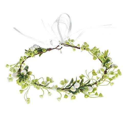DreamLily Women Leaf Headpiece Bridal Floral Crown Green Hair Wreath Bohemian Headpiece Grecian Wedding Crown XM04 (Green)