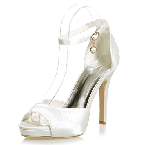 Donna Dress Party Summer Ivory Scarpe Basic da per Platform Stiletto Sposa Toe 11cm Heel Silk 41 Elobaby vxzwIHqv