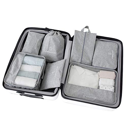 Packing Cubes for Suitcase 7 Set, Luggage Packing Organizers with Shoe Bag and Toiletry Bag (Grey)
