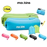 Mockins 2 Pack Blue Green Inflatable Lounger Hangout Sofa Bed with Travel Bag Pouch The Portable Inflatable Couch Air Lounger is Perfect for Music Festivals and Camping Accessories Inflatable Hammock