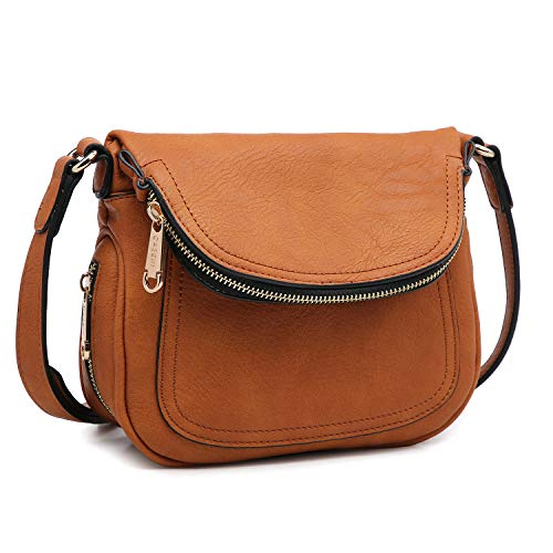 Lady Lightweight Crossbody Bags for Women Small Crossbody Purses Travel Bags Soft Shoulder Bags Vegan Leather (Small Size Brown)