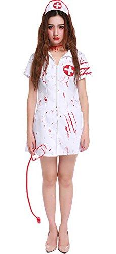 Halloween Bloody Nurse Halloween Zombie Costume Dress Cosplay X-Large (Halloween Costume Vampire Nurse)