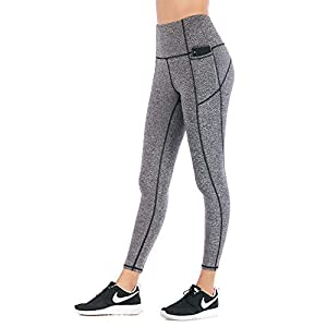 Women High Waist Yoga Pants with Phone Pocket Tummy Control Wrokout Running Tight 4 Way Stretch Yoga Capri Leggings