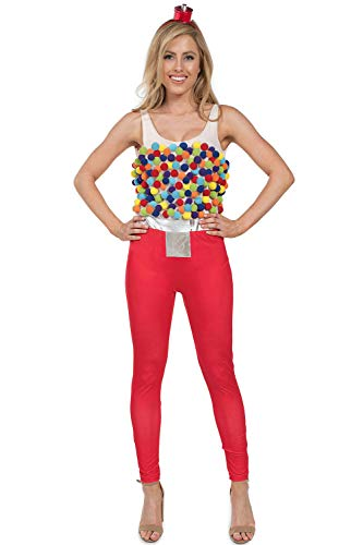Tipsy Elves Adult Gumball Machine Costume - Sexy Bubble Gum Machine Bodysuit Costume for Women: Large Red