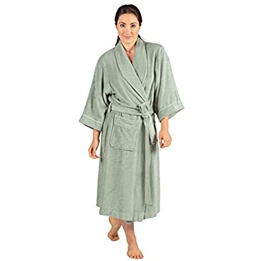 Women's Terry Cloth Bathrobe - Ecovaganza (Lily Green, Small/Medium) Beautiful Robes for Her WB0101-LGN-SM