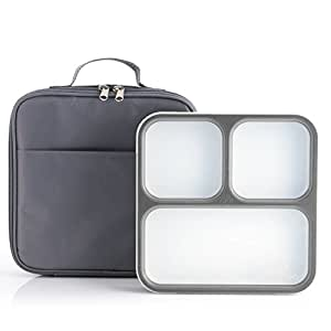 Modetro Ultra Slim Leak Proof Bento Lunchbox with 3 Portion Control Compartments, Includes Matching Insulated Lunch Bag - Ideal for Adults